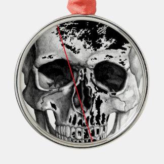 Wellcoda Skull Triangle Death Horror Face Silver-Colored Round Decoration