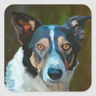 Welsh Border Collie Square Sticker