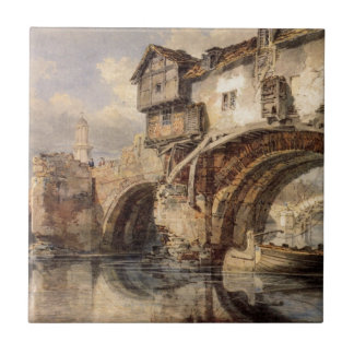 Welsh Bridge at Shrewsbury by William Turner Small Square Tile