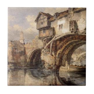 Welsh Bridge at Shrewsbury by William Turner Tile