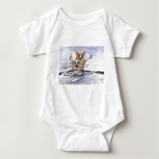Welsh Corgi dog rowing Baby Bodysuit