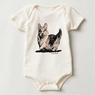 Welsh Corgi with a Tail Baby Organic Bodysuit
