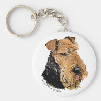 Welsh Terrier Portrait Key Ring