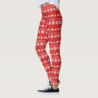 Welsh Terrier Silhouettes Christmas Pattern Leggings