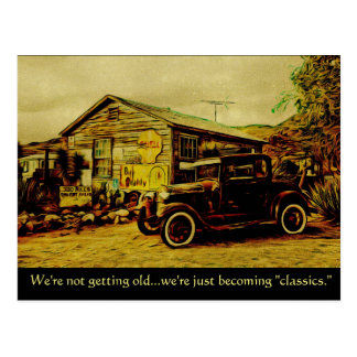 """We're Becoming """"Classics"""" Car Postcard"""