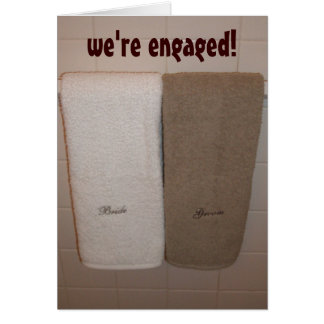 """""""we're engaged!"""" announcement greeting card"""