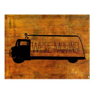 We're Moving Retro Moving Van Old Wood Postcard
