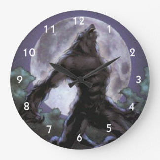 Werewolf Howling At The Moon Large Clock