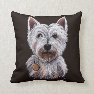 West Highland Terrier Dog Pastel Illustration Cushion