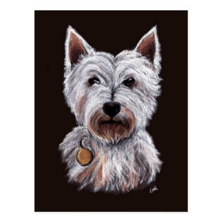 West Highland Terrier Dog Pastel Illustration Postcard