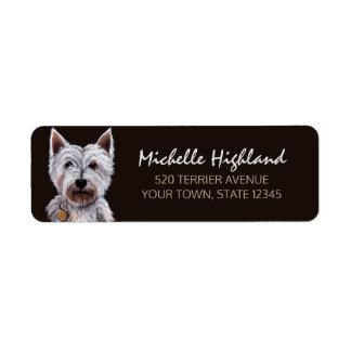 West Highland Terrier Dog Pastel Illustration Return Address Label