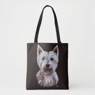 West Highland Terrier Dog Pastel Illustration Tote Bag
