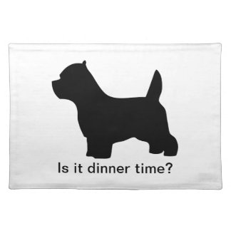 West Highland White Terrier dog, westie silhouette Placemat