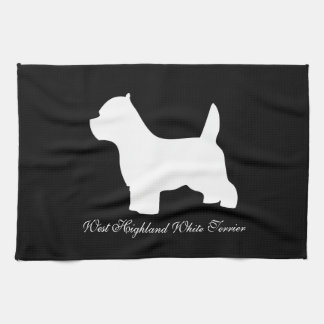 West Highland White Terriers, westie silhouette Tea Towel