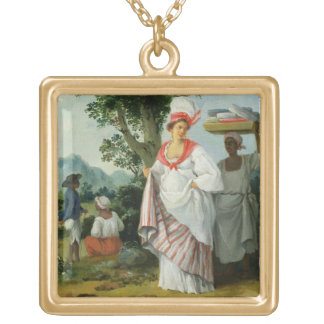 West Indian Creole Woman with her Black Servant, c Gold Plated Necklace