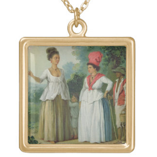 West Indian Women of Colour, with a Child and Blac Gold Plated Necklace