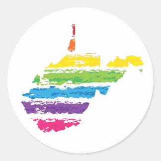 west virginia color strokes round sticker