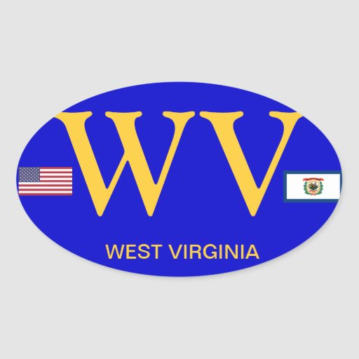 West Virginia* European Style Oval Sticker
