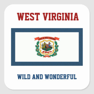 WEST VIRGINIA FLAG AND SLOGAN SQUARE STICKER