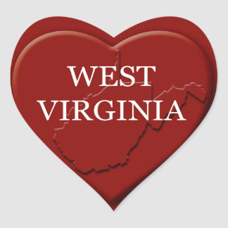 West Virginia Heart Map Design Sticker