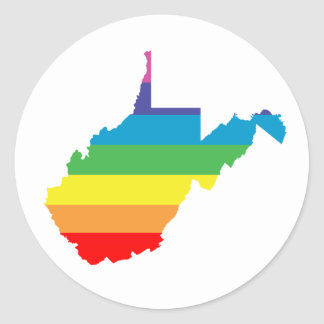 west virginia rainbow round sticker