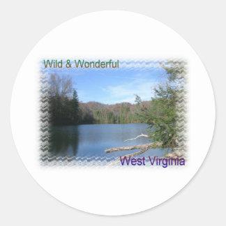 West Virginia Rustic Lake Classic Round Sticker