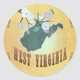 West Virginia State Map- Passion Fruit Yellow Round Sticker