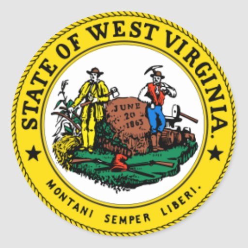 WEST VIRGINIA: State seal of West Virginia Sticker