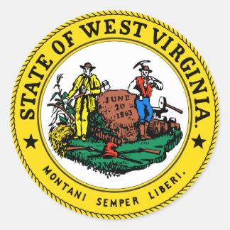 West Virginia State Seal Round Sticker