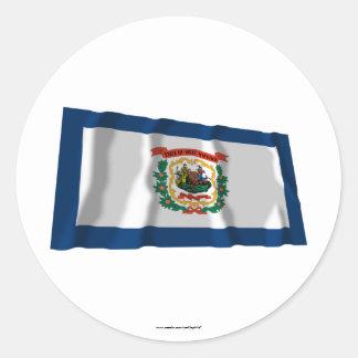 West Virginia Waving Flag Round Sticker