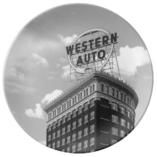 Western Auto Half Cylinder Building Porcelain Plate