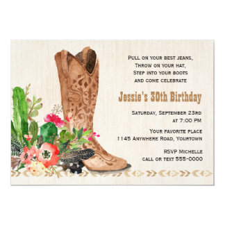 Western Boot and Cactus Birthday 13 Cm X 18 Cm Invitation Card