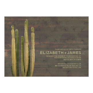 Western Cactus Wedding Invitations Cards