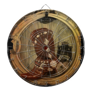 Western Country Rodeo cowboy boot Lasso Rope Dartboard