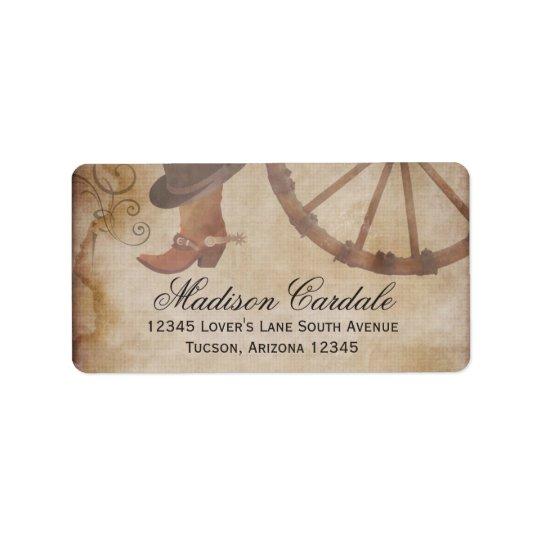 Western Cowboy Boots Wagon Wheel Address Labels