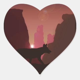 Western Coyote Silhouette Heart Sticker
