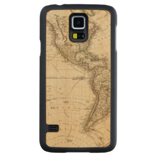 Western Hemisphere Circular Map Carved Maple Galaxy S5 Case