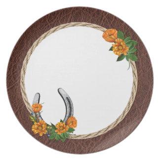 Western Horseshoe & Orange Blossoms Plate