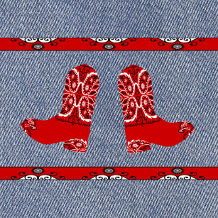 Western Red Bandana Cowboy Boots And Denim Print Shower Curtain