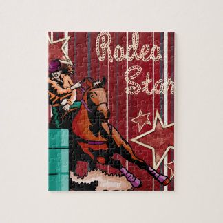 Western Rodeo Cowgirl Barrel Racing Rodeo Star Jigsaw Puzzle