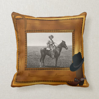 Western Theme with Boot & Hat Photo Template Throw Pillow