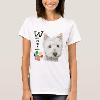Westie Dog Paw Print Art Design T-Shirt