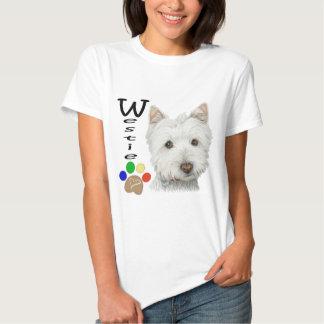 Westie Dog Paw Print Art Design T-shirts