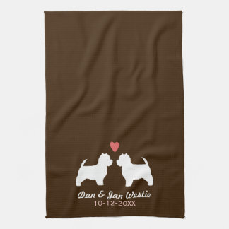 Westie Dog Silhouettes with Heart and Text Tea Towel