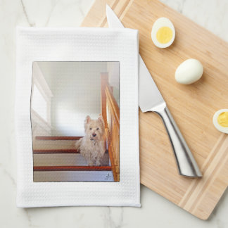Westie Dog Sitting on the Stairs, Vintage Look Tea Towel