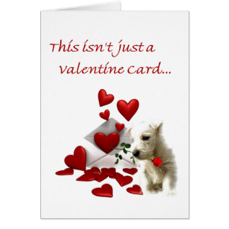 Westie Rose and Hearts Valentine Card