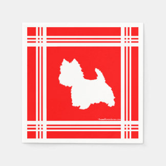 Westie Silhouette Red Disposable Napkin