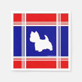 Westie Silhouette Red, White, Blue Disposable Napkin