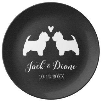 Westies Wedding Couple with Custom Text Plate