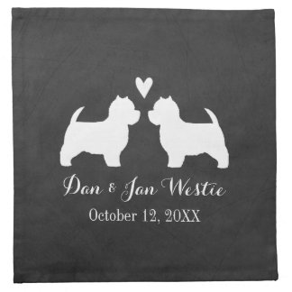 Westies Wedding with Custom Text Napkin
